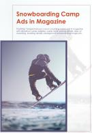 Bi Fold Snowboarding Camp Ads In Magazine Document Report PDF PPT Template