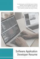 Bi Fold Software Application Developer Resume Document Report PDF PPT Template