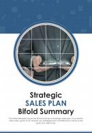 Bi Fold Strategic Sales Plan Summary Document Report PDF PPT Template One Pager
