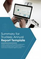 Bi Fold Summary For Trustees Annual Document Report PDF PPT Template