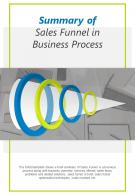 Bi Fold Summary Of Sales Funnel In Business Process Document Report PDF PPT Template One Pager