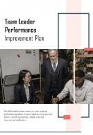 Bi Fold Team Leader Performance Improvement Plan Document PDF PPT Template One Pager