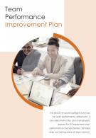 Bi Fold Team Performance Improvement Plan Document Report PDF PPT Template One Pager