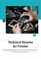Bi Fold Technical Resume For Fresher Document Report PDF PPT Template One Pager