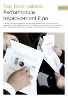 Bi Fold Top New Joinee Performance Improvement Plan PDF PPT Template One Pager