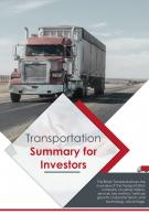 Bi Fold Transportation Summary For Investors Document Report PDF PPT Template