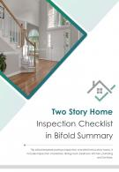 Bi Fold Two Story Home Inspection Checklist In Summary PDF PPT Template One Pager