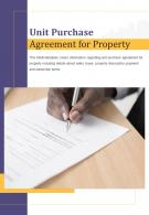 Bi Fold Unit Purchase Agreement For Property Document Report PDF PPT Template One Pager