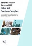Bi Fold Unit Purchase Agreement With Seller And Purchaser Template Document Report PDF PPT One Pager
