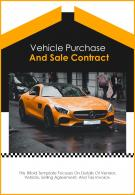 Bi Fold Vehicle Purchase And Sale Contract Document Report PDF PPT Template