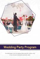 Bi Fold Wedding Party Program Document Report Pdf Ppt Template One Pager