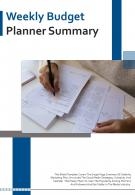 Bi Fold Weekly Budget Planner Summary Document Report PDF PPT Template