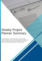 Bi Fold Weekly Project Planner Summary Document Report PDF PPT Template