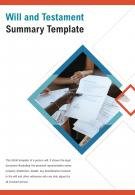 Bi Fold Will And Testament Summary Template PDF PPT Template One Pager