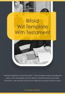 Bi Fold Will Template With Testament Document Report PDF PPT One Pager