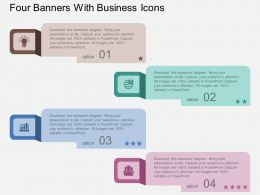 bi Four Banners With Business Icons Flat Powerpoint Design