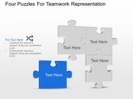 Bi Four Puzzles For Teamwork Representation Powerpoint Template Slide