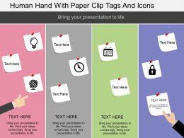 bi Human Hand With Paper Clip Tags And Icons Flat Powerpoint Design