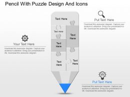 bi Pencil With Puzzle Design And Icons Powerpoint Template