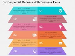 bi Six Sequential Banners With Business Icons Flat Powerpoint Design