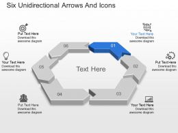 Bi Six Unidirectional Arrows And Icons Powerpoint Template