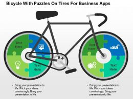 bicycle_with_puzzles_on_tires_for_business_apps_flat_powerpoint_design_Slide01