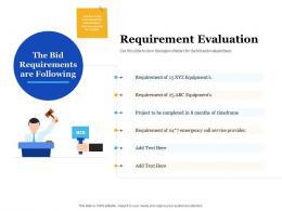 Bid Management Analysis Requirement Evaluation Ppt Powerpoint Presentation Slides