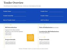Bid Management Analysis Tender Overview Ppt Powerpoint Presentation Model Maker