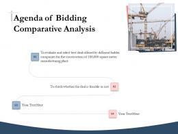 Bidding Comparative Analysis Agenda Of Bidding Comparative Analysis Ppt Gallery
