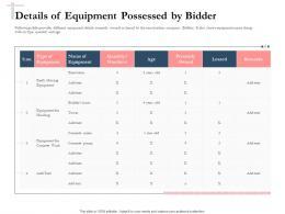 Bidding Comparative Analysis Details Of Equipment Possessed By Bidder Ppt Slide