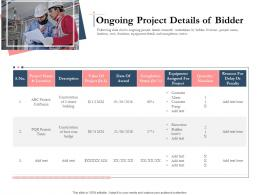 Bidding Comparative Analysis Ongoing Project Details Of Bidder Ppt Powerpoint Ideas
