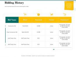 Bidding History Bid Evaluation Management Ppt Powerpoint Presentation Slides Layout