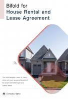 Bifold For House Rental And Lease Agreement Document Report PDF PPT Template One Pager