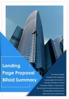 Bifold Landing Page Proposal Summary Document Report PDF PPT Template One Pager