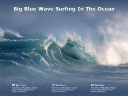 Big Blue Wave Surfing In The Ocean