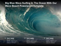 Big Blue Wave Surfing In The Ocean With Our Wave Beach Powerpoint Template