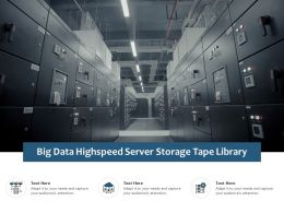 Big Data Highspeed Server Storage Tape Library