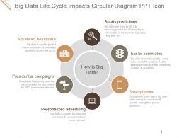 Big Data Life Cycle Impacts Circular Diagram Ppt Icon
