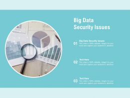 Big Data Security Issues Ppt Powerpoint Presentation Outline Templates Cpb