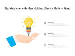 Big Idea Icon With Man Holding Electric Bulb In Hand