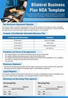 Bilateral Business Plan Nda Template Presentation Report Infographic PPT PDF Document