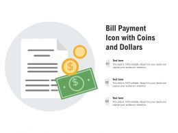 Bill Payment Icon With Coins And Dollars