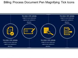 Billing Process Document Pen Magnifying Tick Icons