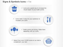 Bin Screwdriver Wrench Balloons Cart Ppt Icons Graphics