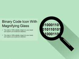 Binary Code Icon With Magnifying Glass