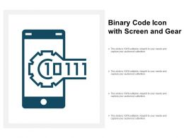 Binary Code Icon With Screen And Gear