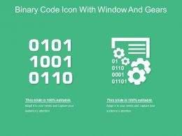 Binary Code Icon With Window And Gears