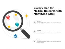 Biology Icon For Medical Research With Magnifying Glass
