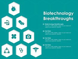 Biotechnology Breakthroughs Ppt Powerpoint Presentation Visual Aids Outline