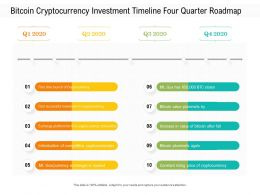 Bitcoin Cryptocurrency Investment Timeline Four Quarter Roadmap